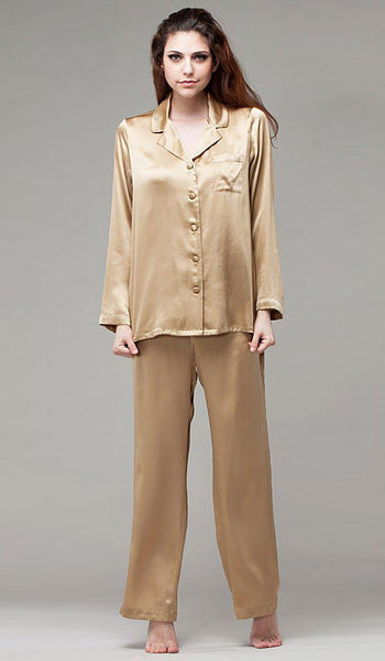 Women's Silk Satin Classic Style Pajamas in Champagne by NKiMode