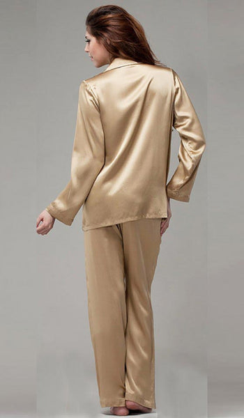 Women's Silk Satin Classic Style Pajamas in Champagne by NKiMode - back view