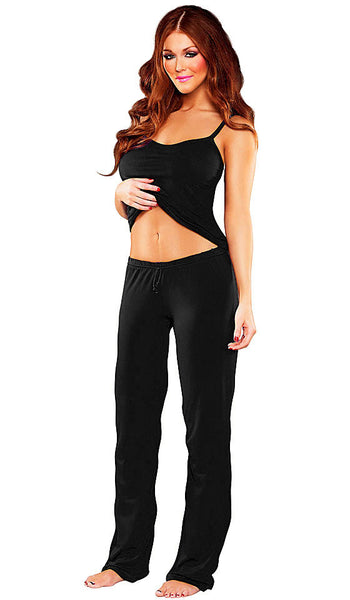 Women's Camisole & Pants - Black Bamboo Knit by Magic Silk