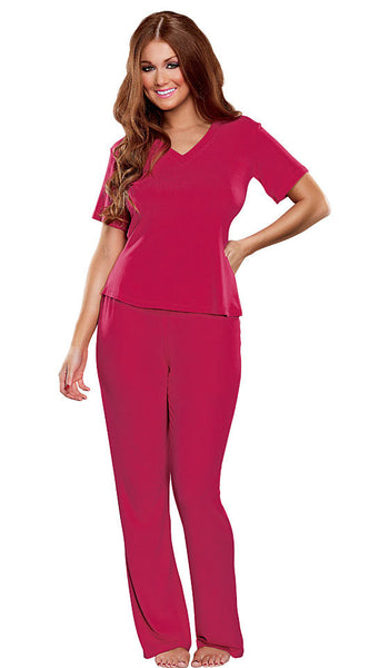 Women's Crew Neck T-Shirt & Pants - Pink Bamboo Knit by Magic Silk