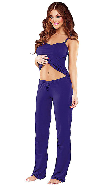 Women's Camisole & Pants - Blue Bamboo Knit by Magic Silk