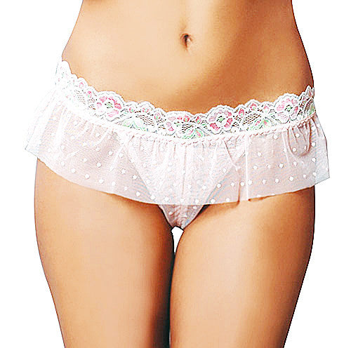 Women's Panty - Pink Dotted Mesh w/Lace Trim
