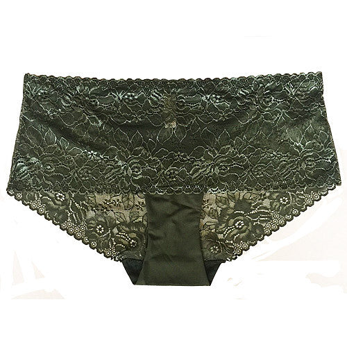 Women's Panty - Moss Green Stretch Lace & Spandex Hipster Panty