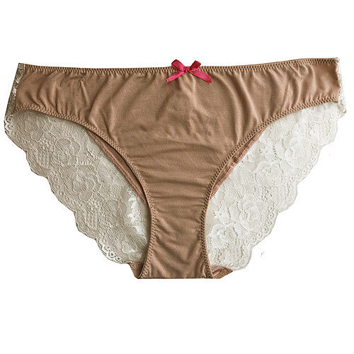 Women's Panty - Tan Marilyn Monroe Stretch Lace Trimmed Hipster Briefs