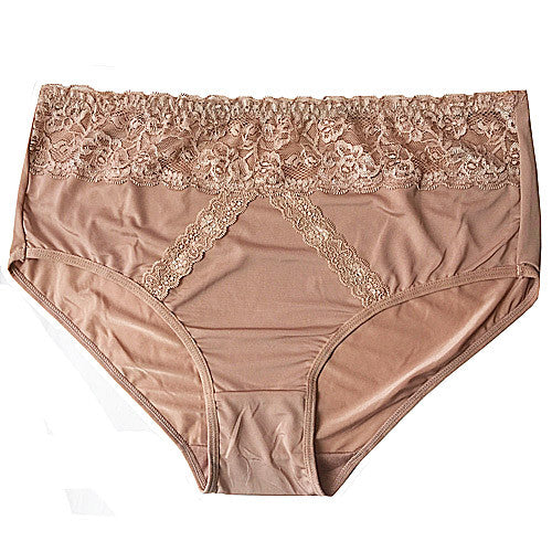 Women's Panty - Tan Elegant Stretch Lace-Trimmed Brief