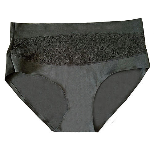 Women's Panty - Charcoal Laser Cut Spandex Briefs w/Lace Inset