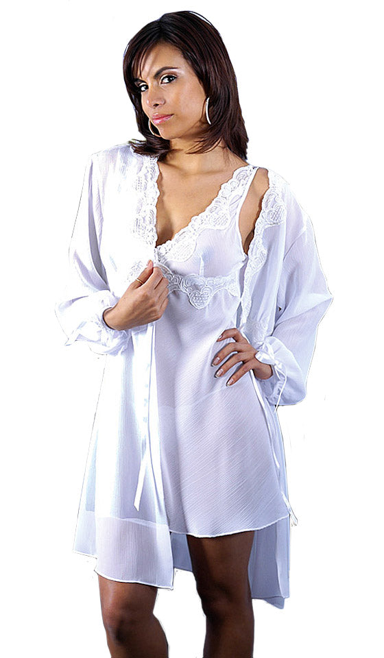 Women's Short White Crinkled Chiffon Lace-Trimmed Peignoir Set w/Beads & Sequins