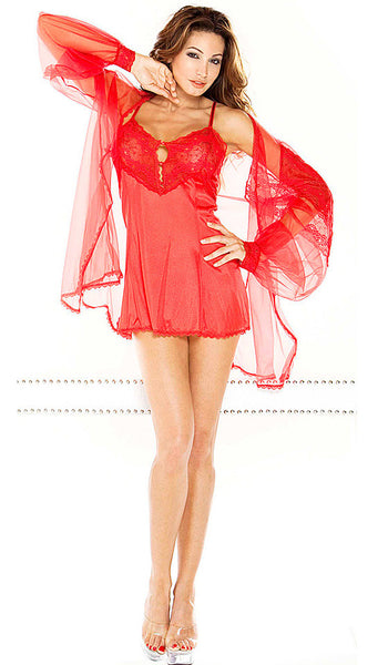 Women's Babydoll Coat Set - Red Nylon, Lace & Chiffon by Fantasy Lingerie