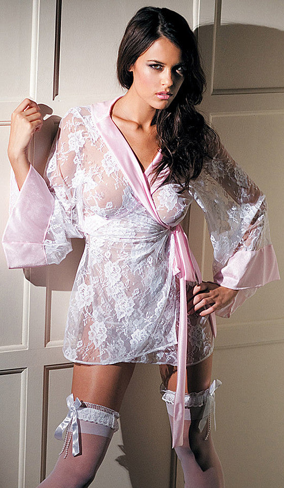 Bridal Lace Kimono w/Pink Satin Trim by Fantasy Lingerie
