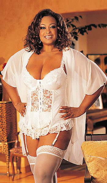 Women's Bridal Robe - White Chiffon Wrap & Satin Jacquard Bustier