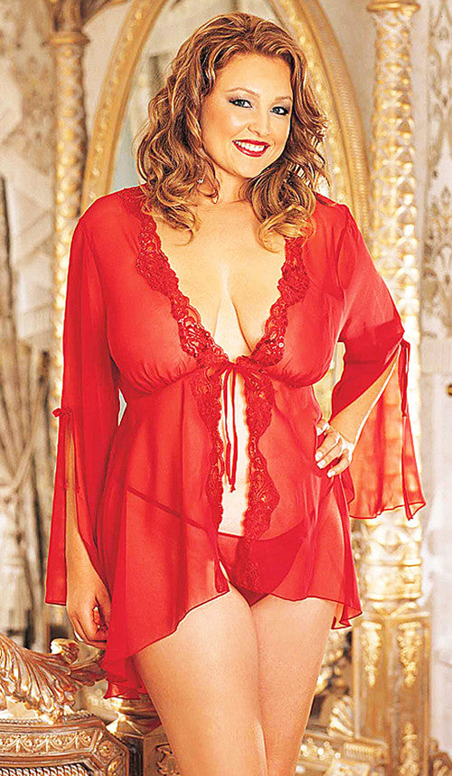 Women's Robe - Red Sheer Chiffon w/Embellished Lace Trim by Shirley of Hollywood