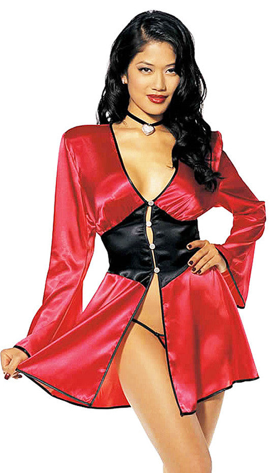 Women's Robe - Red/Black Satin Charmeuse Two-Tone Short Tie-Back by Shirley of Hollywood