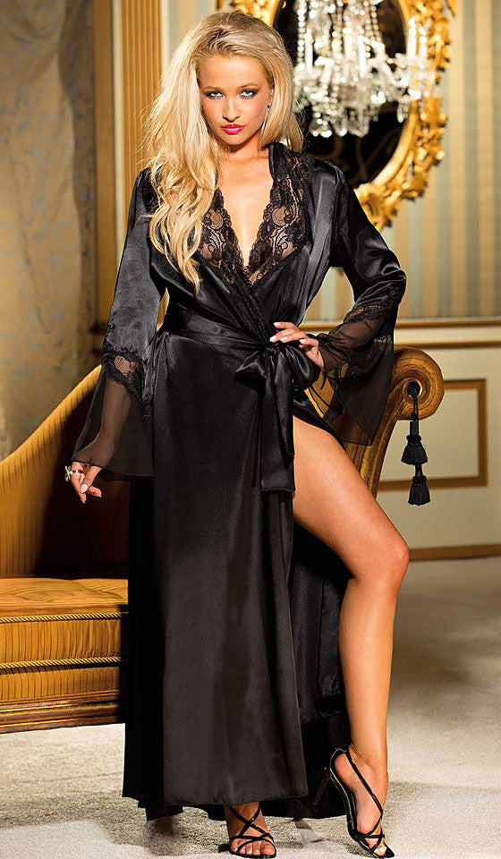 Women's Glamorous Long Black Charmeuse & Chiffon Lace-Trimmed Robe by Shirley of Hollywood