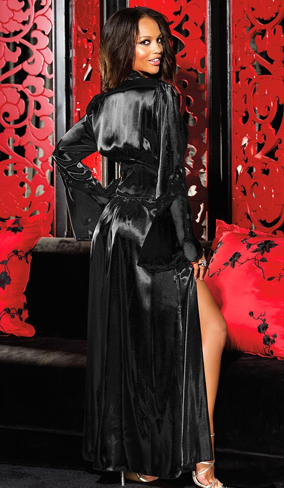 Satin Charmeuse   Chiffon Fitted Dressing Robe w Lace Trim (Small-4X ... 40d777291