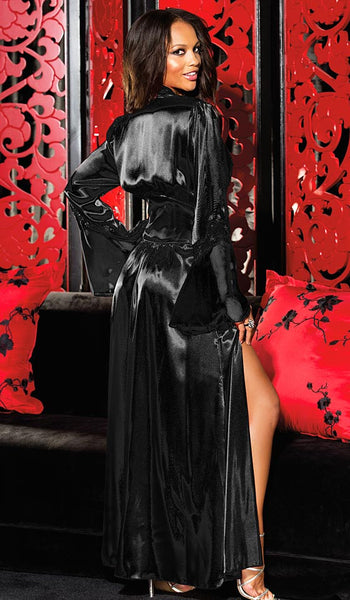 Women's Glamorous Long Black Satin Charmeuse Chiffon Robe by Shirley of Hollywood - back view