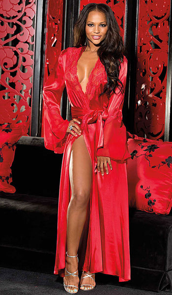 Women's Glamorous Long Red Charmeuse & Chiffon Lace-Trimmed Robe by Shirley of Hollywood