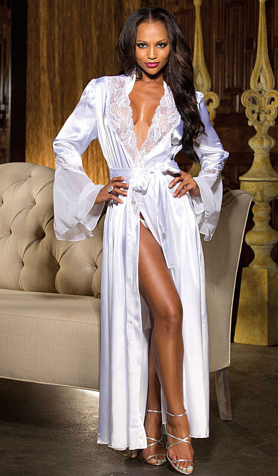 Women's Glamorous Long White Satin Charmeuse Chiffon Robe by Shirley of Hollywood
