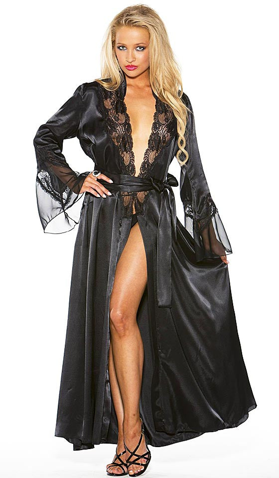 b516969a5c1 Women s Glamorous Long Black Charmeuse   Chiffon Lace-Trimmed Robe by  Shirley of Hollywood ...