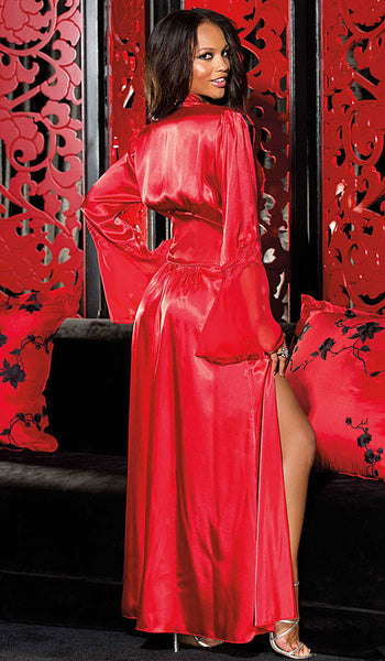 Women's Glamorous Long Red Charmeuse & Chiffon Lace-Trimmed Robe by Shirley of Hollywood - back view