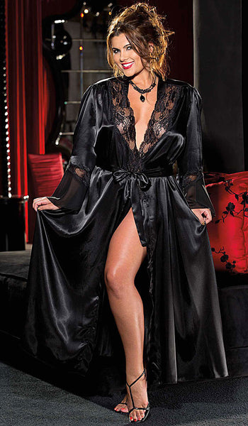 Women's Glamorous Long Black Charmeuse & Chiffon Lace-Trimmed Robe by Shirley of Hollywood - plus size