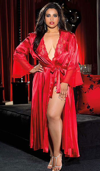 Women's Glamorous Long Red Charmeuse & Chiffon Lace-Trimmed Robe by Shirley of Hollywood - plus size