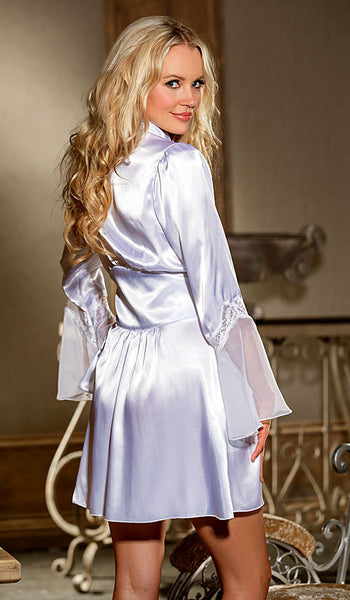 Women's Bridal Robe - Short White Satin Charmeuse w/Chiffon & Lace by Shirley of Hollywood - back view