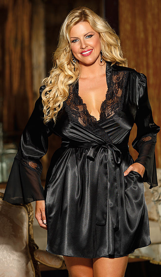 Women's black satin charmeuse short robe with chiffon and lace trim by Shirley of Hollywood