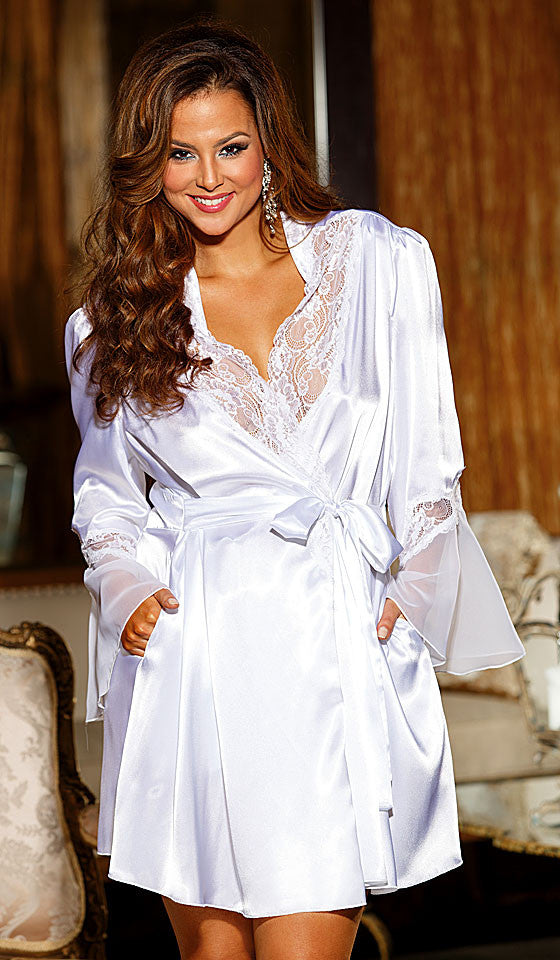 Women's Bridal Robe - Short White Satin Charmeuse w/Chiffon & Lace by Shirley of Hollywood