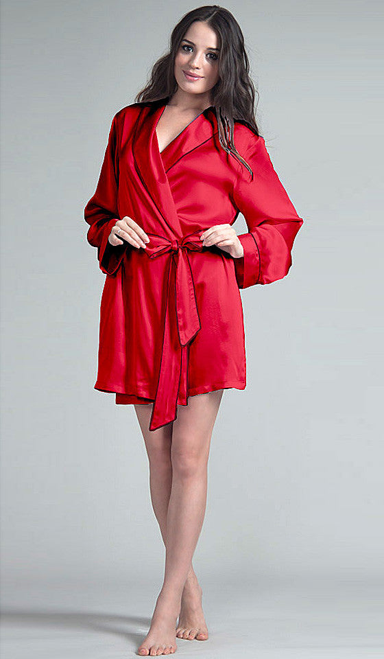 Women's Robe - Red Silk Charmeuse Short Robe w/Contrasting Piping