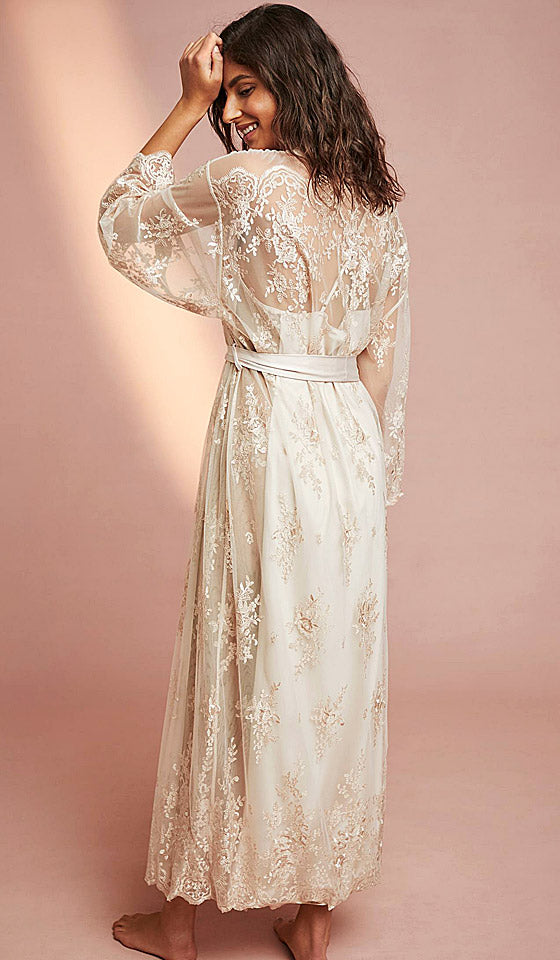 Women's Darling bridal sheer lace robe - champagne by Rya Collection