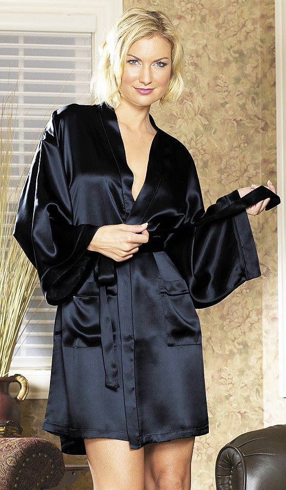 47fe185b14 ... Women s Black Silk Charmeuse Short Kimono Robe by Magic ...