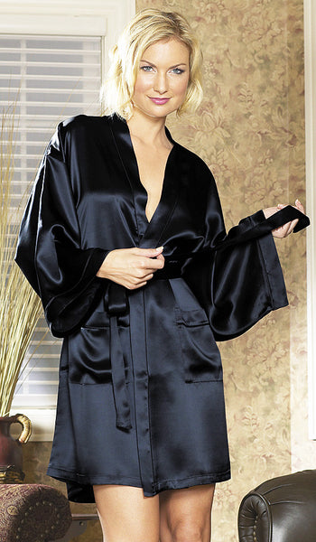 Women's Black Silk Charmeuse Short Kimono Robe by Magic Silk