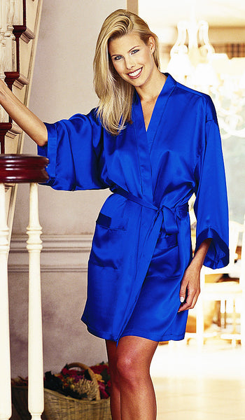 Women's Blue Silk Charmeuse Short Kimono Robe by Magic Silk - view 2