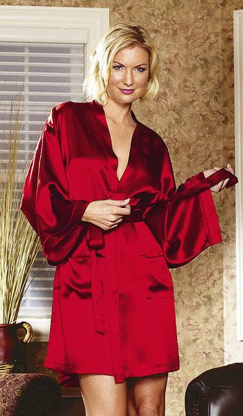 Women's Red Silk Charmeuse Short Kimono Robe by Magic Silk