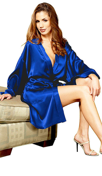 Women's Blue Silk Charmeuse Short Kimono Robe by Magic Silk