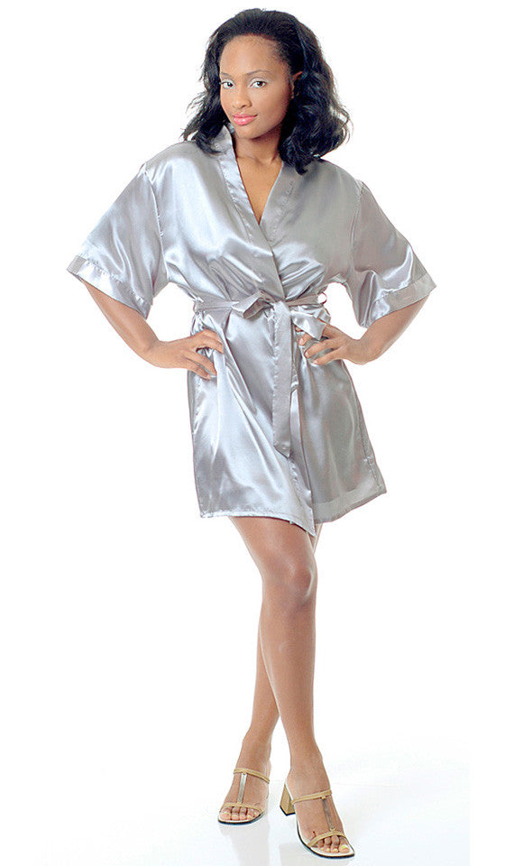 Women's Bridal Robe - White Short Satin Charmeuse Kimono