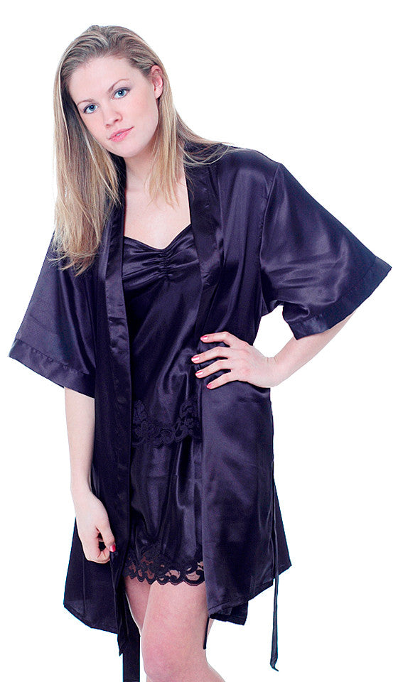 Women's Robe - Black Short Satin Charmeuse Kimono
