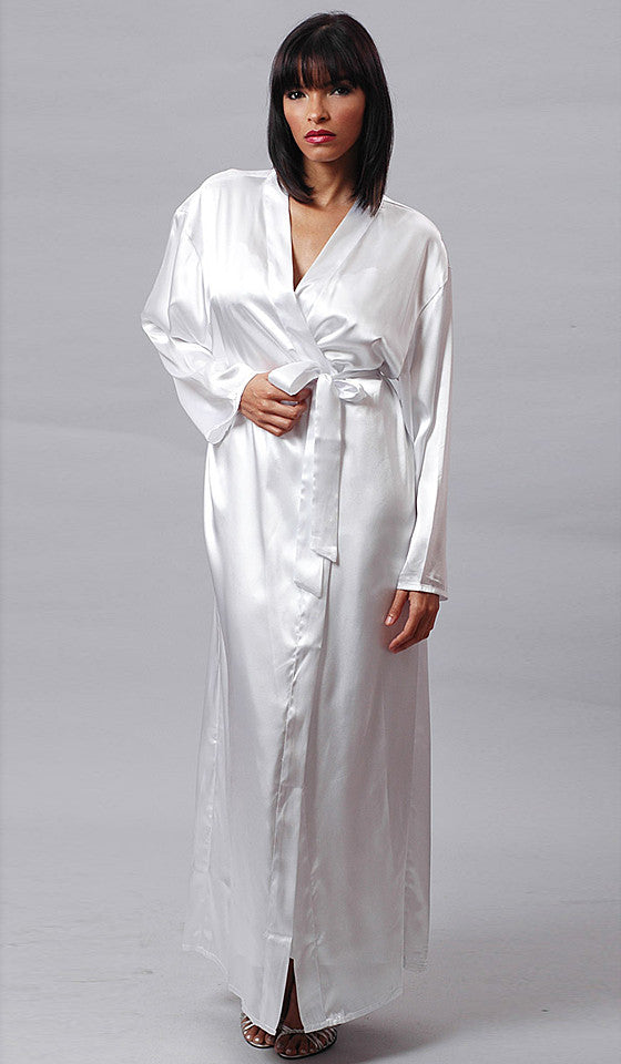 Women's Robe - Bridal White Long Satin Charmeuse