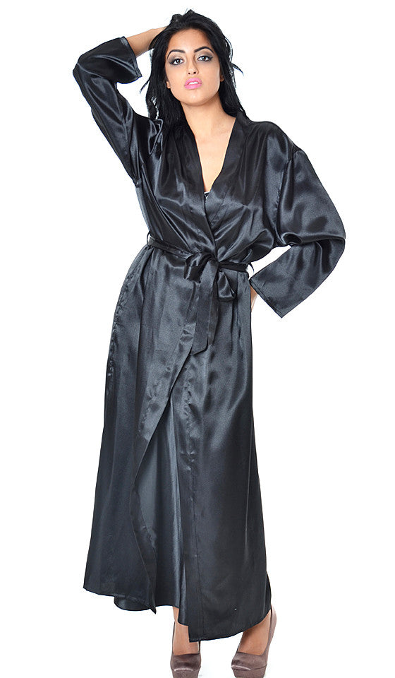 Womens Robe - Long Black Satin Charmeuse w/Belt Tie