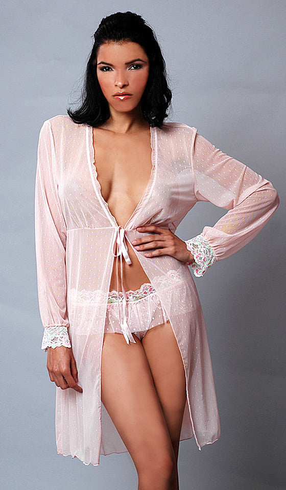 Women's Robe - Pink Dotted Mesh w/Lace Trim