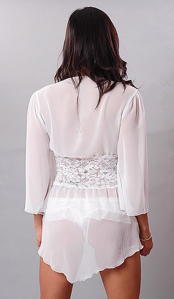Robe - White Sheer Chiffon Fitted Jacket w/Flutter Thong - back view