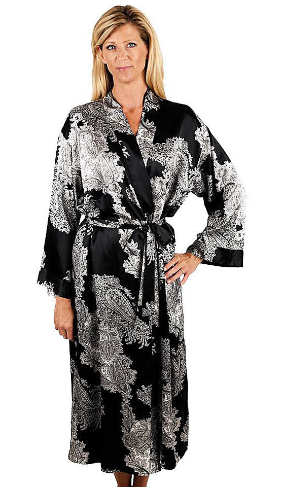 "Women's Chemise & Kimono Robe - ""Reanna"" Black & White Print Poly Satin by Mystique Intimates"