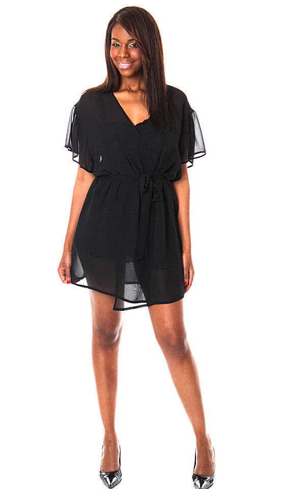 Short Sheer Black Chiffon Wrap Robe (1X-3X)