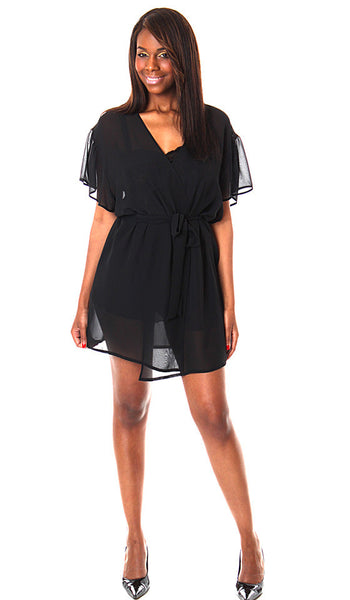 Robe - Sheer Chiffon Short Wrap<br> (1X-3X)