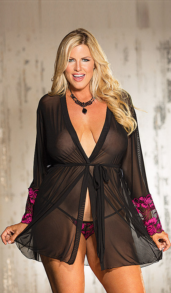 Women's Robe - Black Short Sheer Mesh with Hot Pink Stretch Lace Overlay