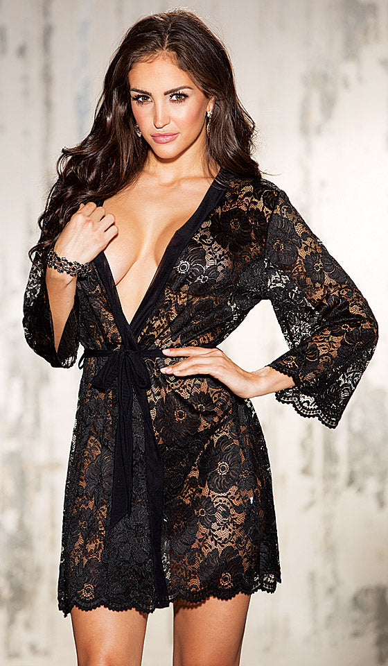 Women's Robe - Black Short Stretch Lace with Long Sleeves and G-String