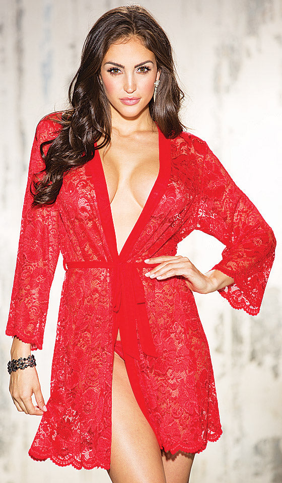 c8d859236 Short Sheer Stretch Lace Robe w G-String (Large-4X) - Pajama Shoppe