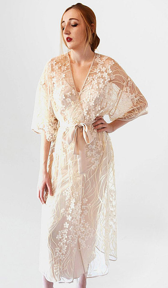 Women's Kiss Sheer Embroidered Champagne-Beige Robe by Rya Collection