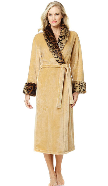 Women's Robe - Luxurious Camel Tan Velvet w/Faux Animal Print Fur Trim
