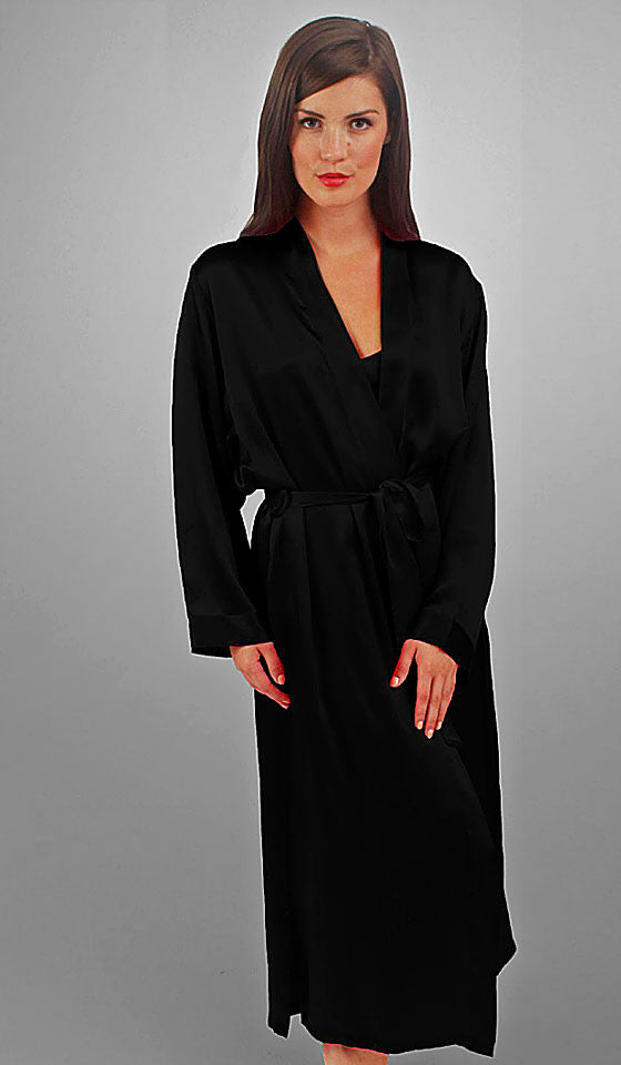 Women's Black Silk Long Kimono Robe by Linda Hartman